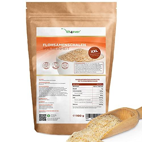 Cáscaras de psyllium 1,1 kg - 1100 g - Residuos controlados - 99% de pureza - Origen: India - Bajo en carbohidratos - Alto contenido en fibra - Sin aditivos - Vegano