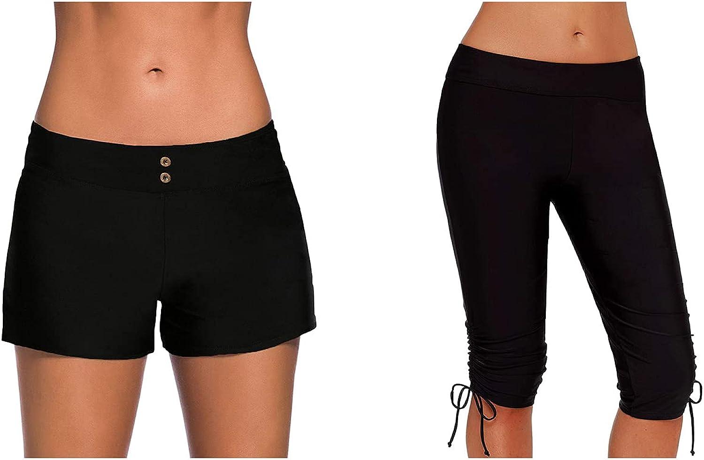 Aleumdr Women's Waistband Swimsuit Bottom Boy Shorts and High Waisted Tankini Swimwear Shorts Bundle