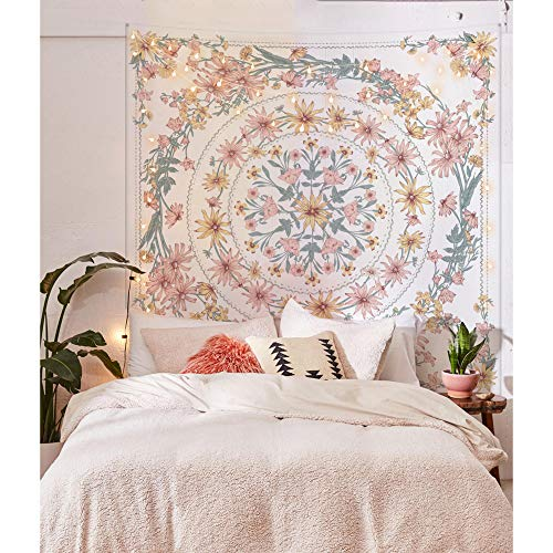 Simpkeely Mandala Floral Medallion Tapestry, Sketched Flower Plant Boho Wall Hanging, Bohemian Hippie Tapestries for Bedroom Living Room Dorm Home Dcor 59.1 x 80 Inches (RosyBrown)