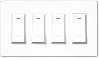 MOES WiFi Smart Light Switch,4 Gang No Screw Panel Smartlife/Tuya App Wireless Remote Control In-Wall Switch Timer for Lights,Compatible with Alexa,Google Home and IFTTT,No Hub required