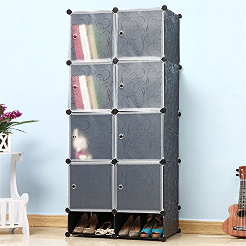MCTECH® Regalsystem Kleiderschrank DIY Schrank Garderobenschrank für Kleidung, Schuhe, Spielzeug und Bücher (8 Boxen-Schwarz mit Tür und Schuhschrank)