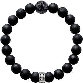 Thomas Sabo Women Men-Bracelet Rebel At Heart 925 Sterling Silver Blackened Obsidian Black Length 19 Cm A1085-023-11-L