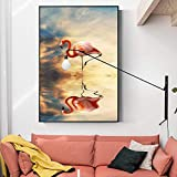 Geiqianjiumai Decoración del hogar Flamingo Animal Picture Painting Gift Wall Sticker Frameless Painting 60x80cm