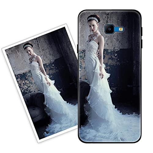 Sunrive Funda Personalizada Compatible con Samsung Galaxy J4 Plus, Carcasa Personalizable para tu móvil con Foto Imagen Frase o Texto-(Silicone Frontera+Cristal Templado Posterior)