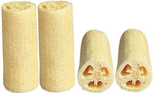 LUXEHOME Loofah Sponge, 4 Pack, Large 6 Length, Natural Scrubber, Perfect for Bath or Kitchen by LUXEHOME