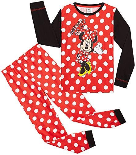 Disney Pijama Niña, Minnie Mouse Pijama Niña Invierno, Ropa para Niña Algodon, Conjunto 2 Piezas Manga Larga y Pantalon, Regalos para Niñas y Adolescentes (9-10 años)