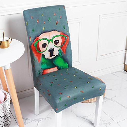 Fundas Sillas Comedor Pack De 6 Verde Oscuro Fundas Sillas Comedor Perro Animal Fundas Elásticas Chair Covers Lavables...