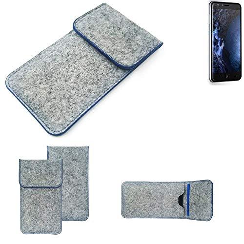 K-S-Trade Filz Schutz Hülle Für Doogee Y6 4G Schutzhülle Filztasche Pouch Tasche Hülle Sleeve Handyhülle Filzhülle Hellgrau, Blauer Rand