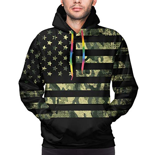 American Flag with Camouflage, Grunge Style Youth 3D Printed Hooide Sweatshirt with Pocket L