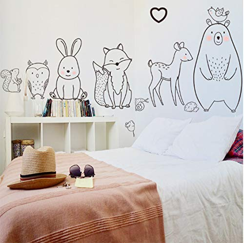 Stickers Muraux Dessins Animés Animaux Timides Ours Fox Bébé Chambre D'Enfant Décoration De La Maison Maternelle