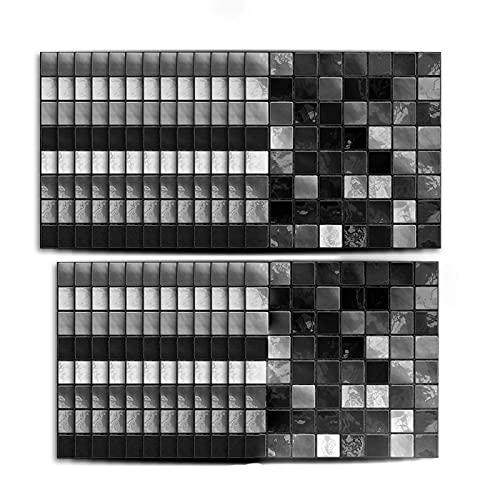 25 pegatinas de mosaico negro para azulejos de mosaico, autoadhesivas, impermeables, antiaceite, para decoración de baño, cocina, papel pintado (15 x 15 cm)