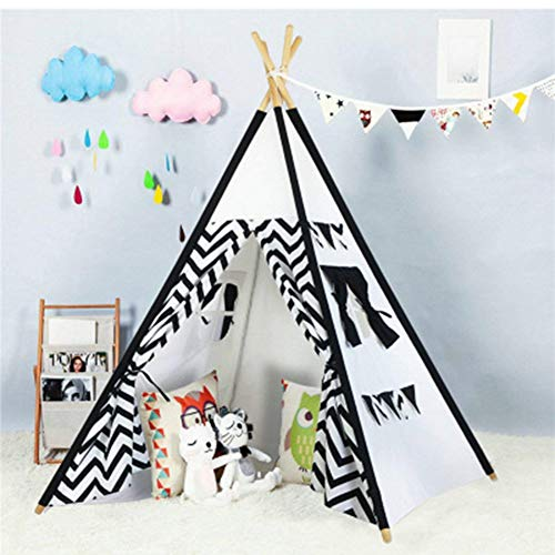 YYFZ Kinderen tipi kinderen eenvoudig te monteren Indoor tent Katoen canvas tent een benodigdheden voor thuis decoratie kleur (zwart en wit)