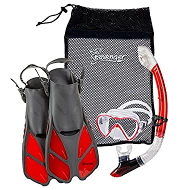Seavenger Diving Dry Top Snorkel Set with Trek Fin, Single Lens Mask and Gear Bag, L/XL - Size 9 to 13, Gray/Clear Red
