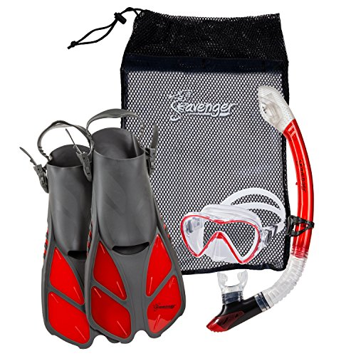 Seavenger Diving Dry Top Snorkel Set with Trek Fin, Single Lens Mask and Gear Bag, S/M - Size 4.5 to 8.5, Gray/Clear Red