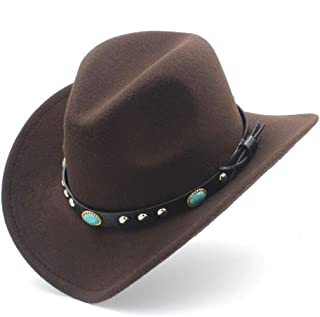 2019 Good Hat For Men Women Fashion Western Cowboy Hat With Punk Belt Pop Wide Brim Jazz Hat Sombrero Hat Winter Outdoor Church Hat, Size 56-58CM