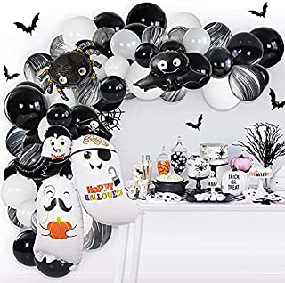 Halloween Balloons Garland Kit ,Halloween Ghost Spider Bat Black Red and Golden Latex Balloons Confetti Balloon Decoration...
