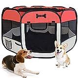 MC Star Oxford Pieghevole Box per Cani Impermeabile Grande Recinto per Animali, Cuccioli, Cane, Gatti, Porcellini d'India, per Interno o Esterno,125 x 64 cm(Rosso)