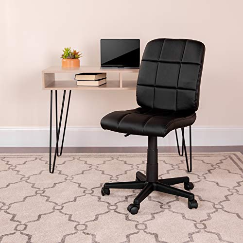 Flash Furniture Mid-Back Black Quilted Vinyl Swivel Task Office...