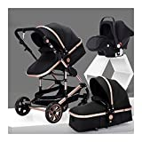 Baby Stroller 3 in 1 Stroller Buggy with Infant Car Seat, High Landscape Anti-Shock Baby Child Pushchair with 5-Point Harness, Including Rain Cover (Color : Black)