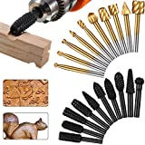10 Pieces Woodworking Drill Bits High Speed Rasp Drill Bit with 1/8 Inch Shank and 10 Pieces Carving Drill Bits with 1/4 Inch Shank for DIY Woodworking Carving Drilling (Black and Gold)