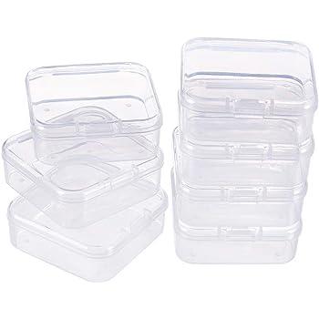 BENECREAT 18 Pack Caja de Contenedores de Almacenamiento de Plástico Transparente con Tapas Abatibles para Pastillas Hierbas Cuentas Pequeñas Joyería: Amazon.es: Hogar