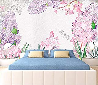 Mural,Customize 3D Wallpaper Light Purple Watercolor Hyacinth Flower Plant Series Art Print Wall Painting Hd Print Poster Picture Large Silk Mural For Living Room Bedroom Home Decor ,180Cm(H)×280Cm(W