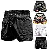 ROAR Muay Thai Shorts Mens Fight Shorts MMA Grapplig Kick Boxing Training Fitness Trunks Martial Arts (Black, Medium)