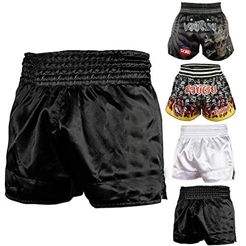 ROAR Muay Thai Shorts Mens Fight Shorts MMA Grapplig Kick Boxing Training Fitness Trunks Martial Arts (Black, X-Large)