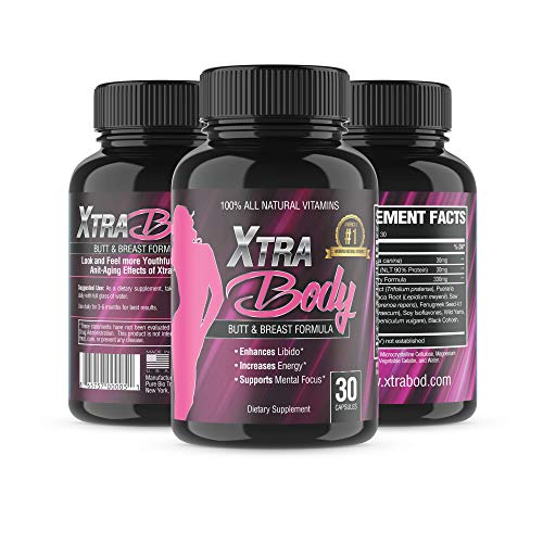 XtraBody Vitamins Butt Enhancement and Breast Enlargement Supplement - Estrogen Enhancer - Increases Libido, Reduces Menstrual Symptoms and Provides an Extra Boost of Energy (1 Bottle - 30 Capsules)