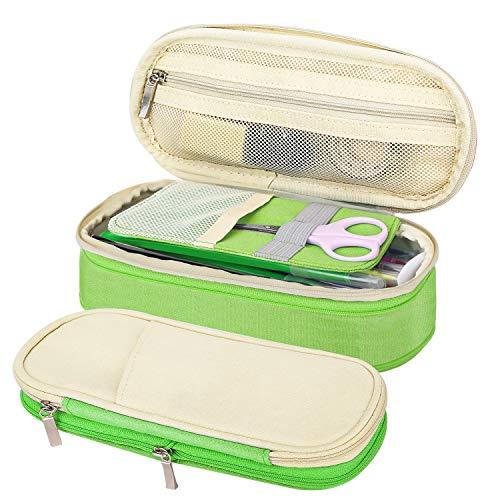MoKo Caja Estuche de Lápices, Bolsa Organizador Escritorio de Ordenado Portalápices Almacenamiento Accesorio Útiles EscolarTitular Bolsa de la Pulma para Oficina Viaje Maquilaje - Beige + Verde
