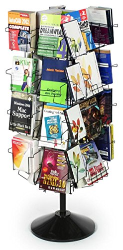 Wire Display Rack for Books, Floor-Standing Fixture with Adjustable Height Pole - 43 to 54.25 Inch, Thirty-Two Pockets in Three Different Sizes - Black Welded Wire with Plastic Base