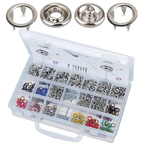 RERI Druckknopf Set mit Zange, Jersey Druckknöpfe Metall Nähzubehör Buttons Knöpfe zum Annähen Werkzeug Jessey Snaps für DIY Basteln Stoff, Kleidung Taschen (10 Farbe)