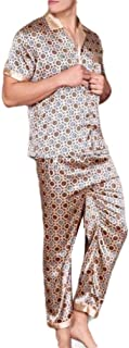 Howely Mens Cozy Breathable Charmeuse Short Sleve Plaid Loungewear Set
