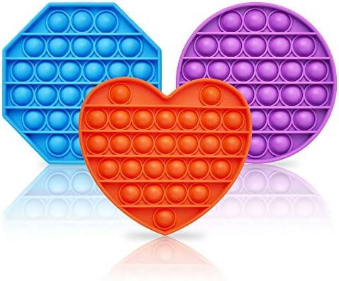 Gxeabg Sensory Toy Push Pop Bubble Fidget Toy Blue Octagonal Orange Heart Purple Circle Silicone product image