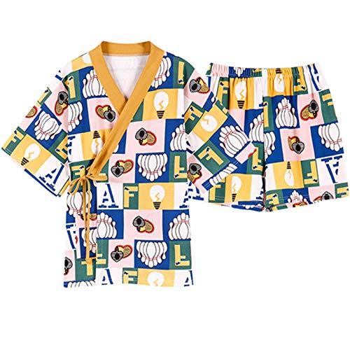 N/F Lindo patrón de Dibujos Animados Pijamas Estilo Kimono Pijamas Mujer cómoda Ropa Interior de algodón con Cuello en V Manga Corta Servicio a Domicilio