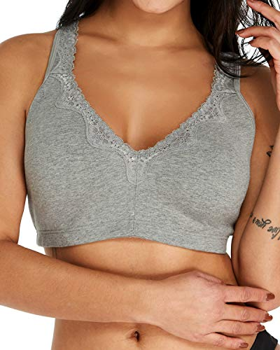 KISSLACE Women's Lace Wire-Free Minimizer Bra Unpadded Soft Touch Comfort Wireless Cotton Bras Grey 50D