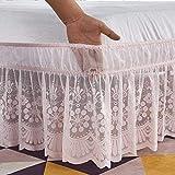 YYQQ Volantes elástica Falda de Cama,Bedding Ruffled Bedskirt Reina del Rey Medidas canapé Cubre unda de somier Faldón de Volantes 135 * 200+38 (Color : Pink, Size : 120 * 200+38cm)