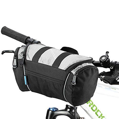 CARACHOME 5L Fahrradlenker Tasche, Fahrrad-Fahrradtasche mit Mehreren Taschen Lenker Vordertasche Packtasche Korb Schulterpackung für MTB, Rennrad, Eletric Scooter Faltrad,Grau