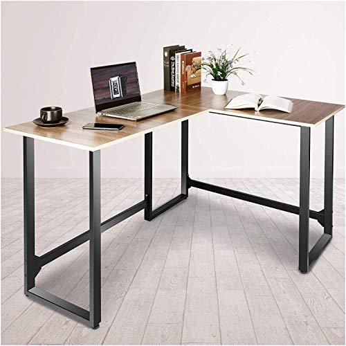 Escritorio de estilo industrial esquina, en forma de L mesa de ordenador, mesa de estudio, con bastidores de almacenamiento para la oficina en casa, ahorro de espacio,A