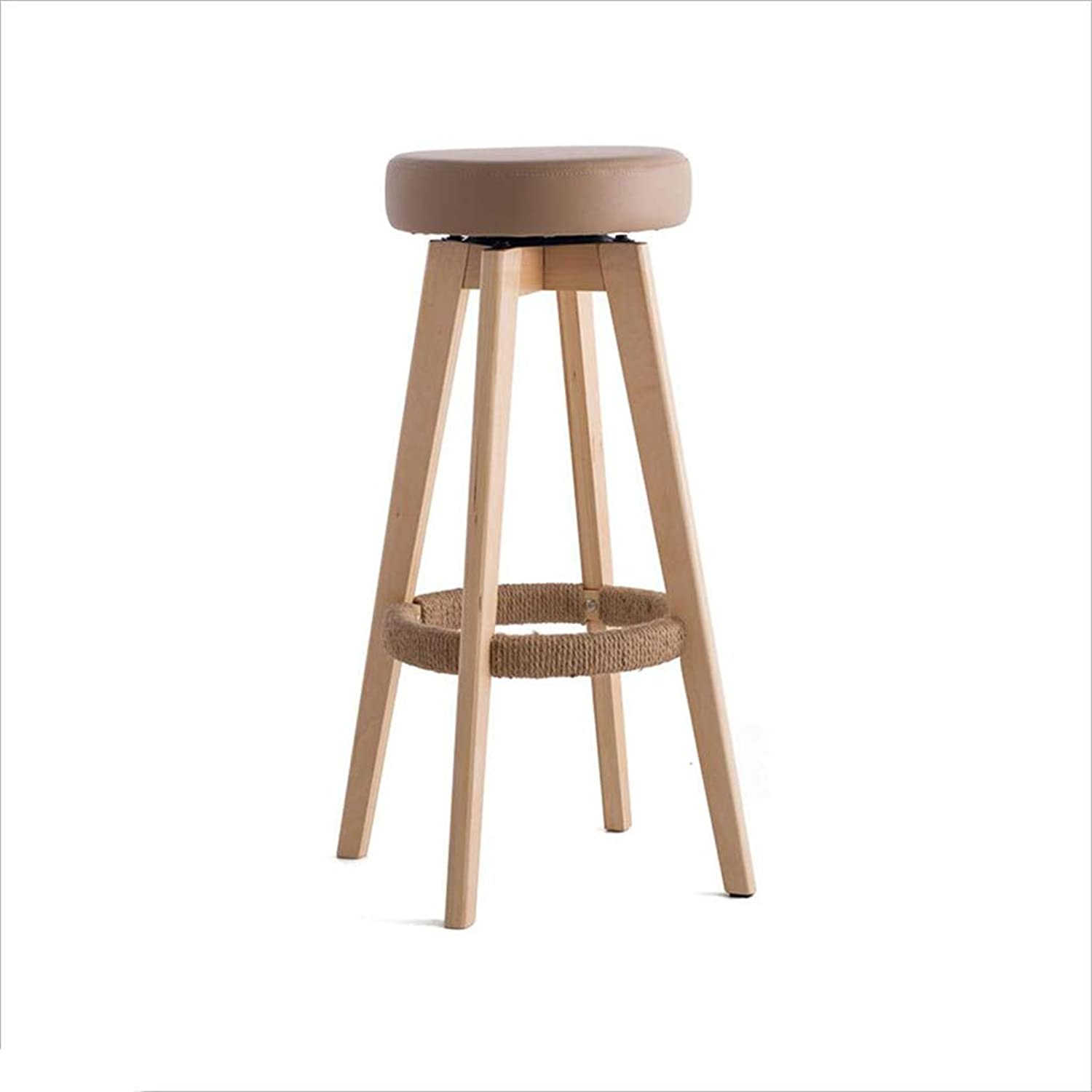 QZ HOME Bar Chair redating High Foot Stools Household Solid Wood Bar Stools Strong and Durable (color   Brown)