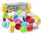 Sipobuy Juguetes Geométricos Educativos De Siposhop, Juego De 12 Huevos De Reconocimiento De Clasificación De Forma De Color para Niños Pequeños, Niños Y Niñas (Fruit)