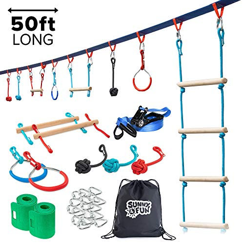 Portable 50 Foot Ninja Slackline Monkey Bar & Ladder Kit – Kids Gym Swinging Obstacle Course Set - Warrior Training Bars, Fists, Gymnastics Rings - Carry Bag & Tree Protectors