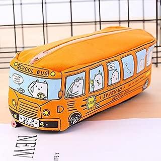 1pc Creative Large Canvas Car Pencil Case School Supplies Bus Pencil Cases Pouch Girl Boys Stationery Pen Bag Storage Holder Large Capacity Creative Pencil case (Color : Orange)