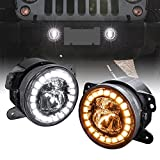 2pc 4' LED Fog Lights Replacement for Jeep Wrangler [HALO DRL + Turn Signal] [Dual Fish-Eye Lens] [Black-Finish] Driving Light Lamp Compatible with Jeep Wrangler 1987-2018 Accessories