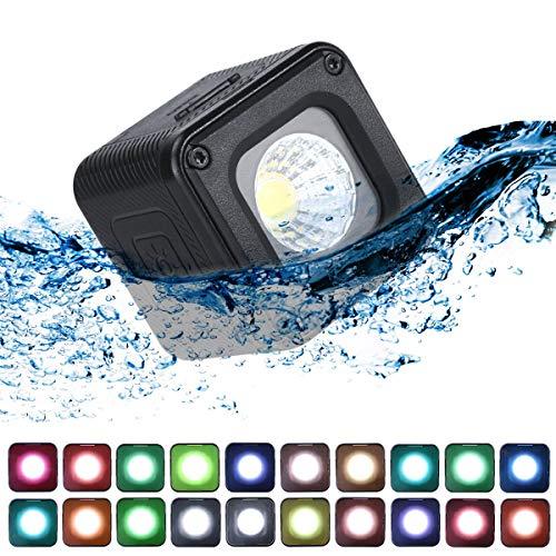 ULANZI L1 Pro Vielseitiges Mini-LED-Licht wasserdichte LED-Beleuchtung mit 20 Farbgelen für Smartphone-Kamera-Drohnen Video, Unterwasser, Kompatibel mit DJI OSMO Action Gopro 7 6 5 DSLR-Kameras