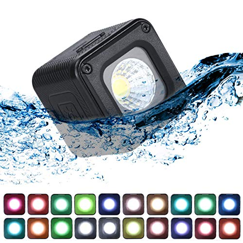 ULANZI L1 Pro Mini LED Light Waterproof LED Lighting with 20 Color Gels for Smartphone Camera Drone Photography,Video, Underwater,Compatible w DJI OSMO Action Gopro 8 7 6 5 iPhone DSLR Cameras