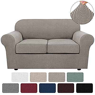 3 Piece Stretch Sofa Covers for 2 Cushion Couch Loveseat Covers for Living Furniture Slipcovers (Base Cover Plus 2 Seat Cushion Covers) Feature Upgraded Thicker Jacquard Fabric (Loveseat, Taupe)