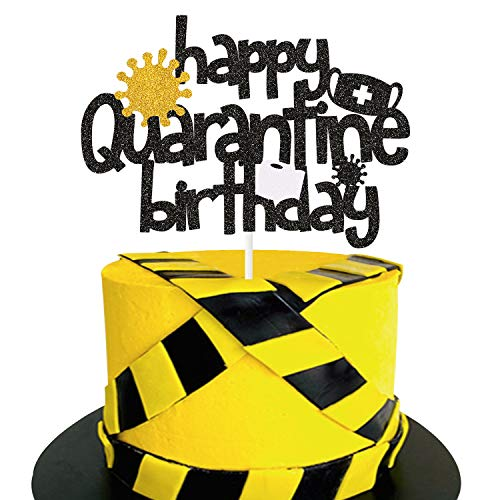 Happy Quarantine Birthday Cake Topper - Stay Home Birthday Party Centerpiece Decoration - Social Distancing Bday Lockdown Party Supplies