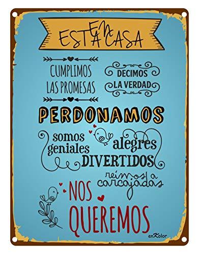 Chapas Decorativas Pared/Carteles Vintage/Frases/Normas Casa/30X40cm.