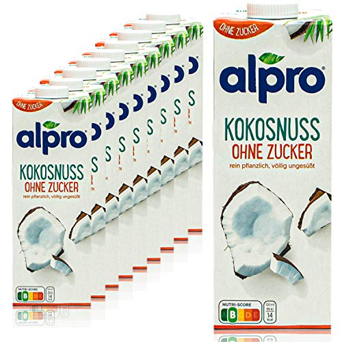 Alpro - 10er Pack Kokosnussdrink ohne Zucker 1 Liter - Kokosnuss Drink ungesüßt - Kokos Coconut 100 % pflanzlich